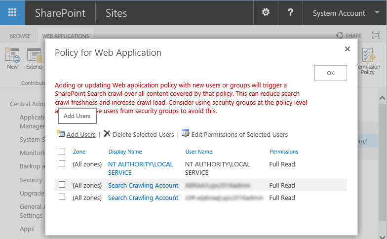 Configuring Web Application User Policy in SharePoint 2013 / 2016