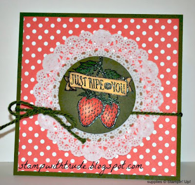 http://stampwithtrude.blogspot.com, Trude Thoman, Stampin' Up!, bleach technique, Market Fresh stamp set, Tuesday Tutorial, greeting card