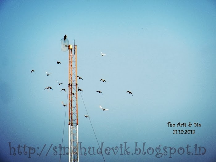 Flying Birds around a tower in the clear blue sky.