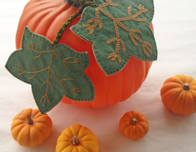 felt pumpkin leaves