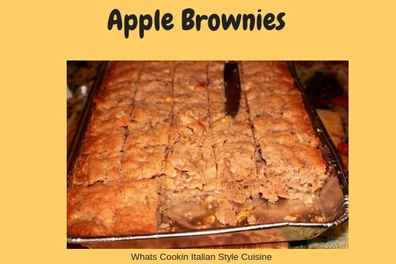 these are a moist apple brownie made with fresh apples, cinnamon and they are in a disposable pan for easy cleanup.