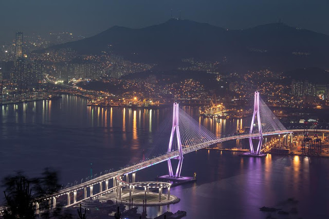 Busan night view of bridge