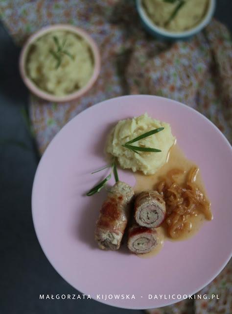 jak robi się polędwiczki, roladki mięsne z boczkiem, puree z pietruszki, lekki obiad, daylicooking