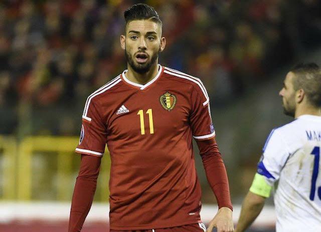 Yannick Ferreira-Carrasco sous le maillot belge pendant un match comptant pour les éliminatoires de l'Euro 2016