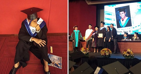 Parents skip son's graduation since elementary, makes him cry on stage