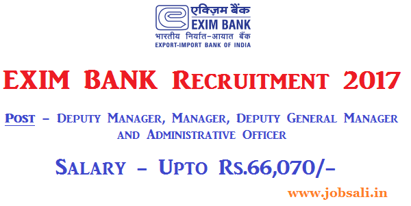 exim bank manager vacancy, Bank jobs 2017, exim bank career opportunity