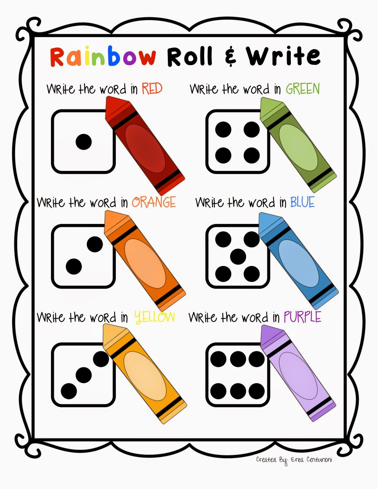 Ms C S Kinders Rainbow Roll And Write