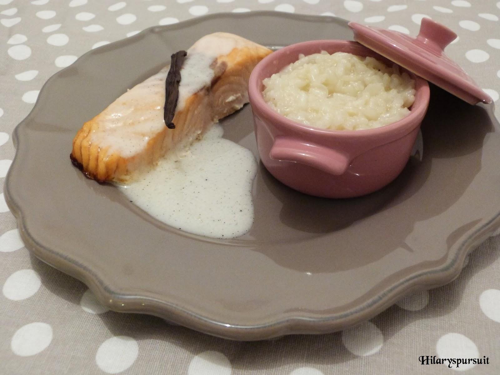 Pavé de saumon et son émulsion vanillée, risotto onctueux