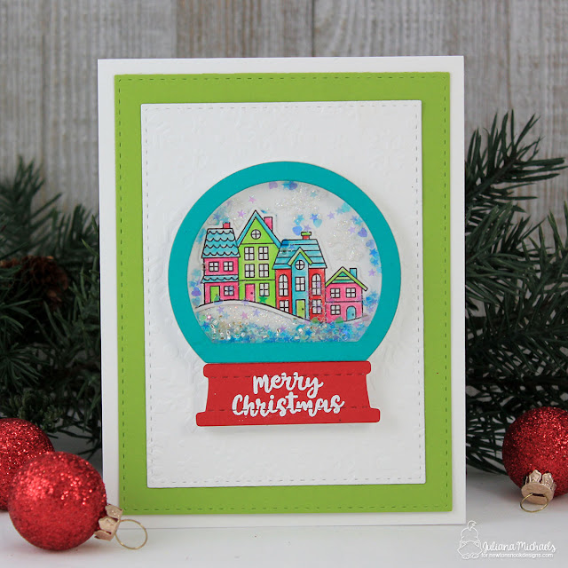 Merry Christmas Snow Globe Shaker Card by Juliana Michaels featuring Snow Globe Scenes Stamp Set and Snow Globe Shaker Die by Newton's Nook Designs
