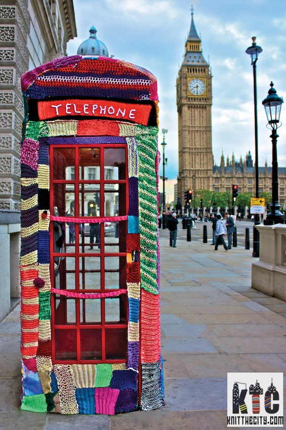 knit the city decorated telephone box London