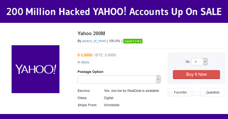 hacker selling 200 million yahoo accounts on dark web