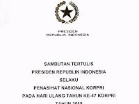 Sambutan Tertulis Presiden pada HUT KORPRI ke-47 Tahun 2018