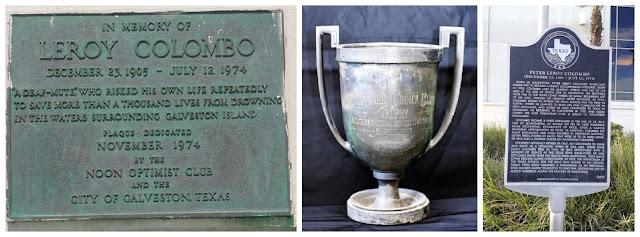 Placas conmemorativas al socorrista sordo Leroy Colombo y trofeo de primer puesto en competición de natación de larga distancia