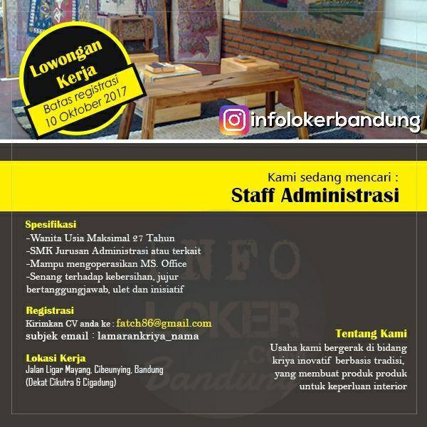 Lowongan Kerja Staff Administrasi Usaha Kriya Inovatif Bandung Oktober 2017