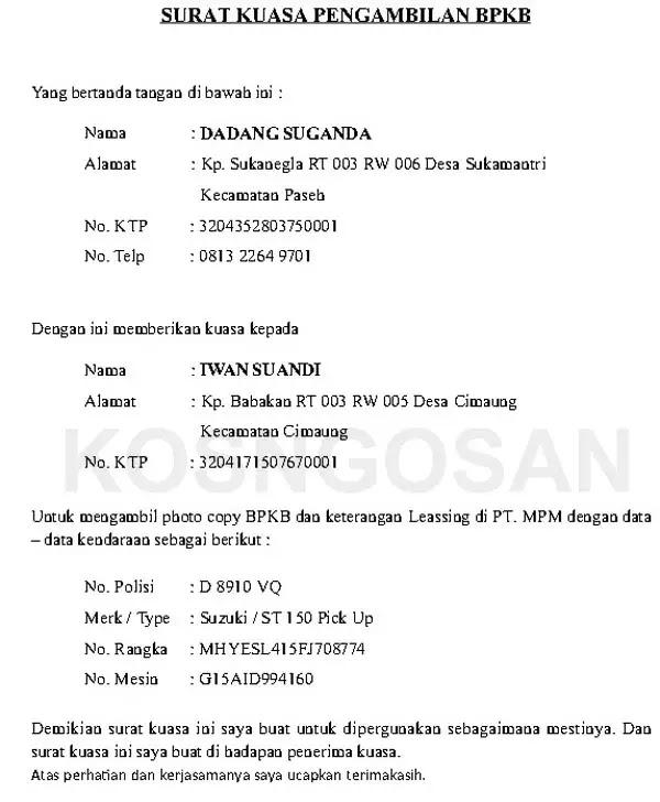 Contoh Surat Kuasa Pengambilan BPKB Motor dan Mobil ...