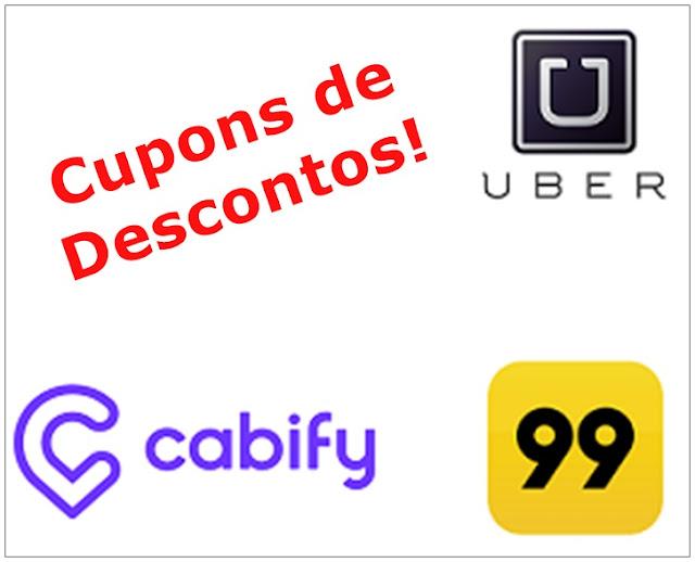 Cupons de desconto Cabify, Uber e 99 Táxi