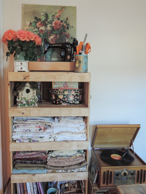 rustic wooden shelving unit