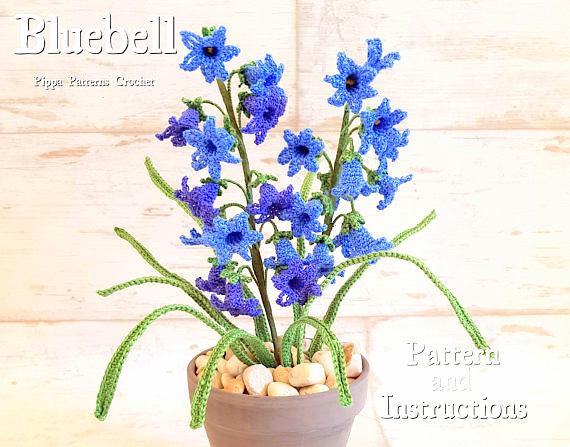 Blue bell flower crochet pattern