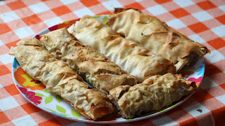 A plate of homemade sausage rolls