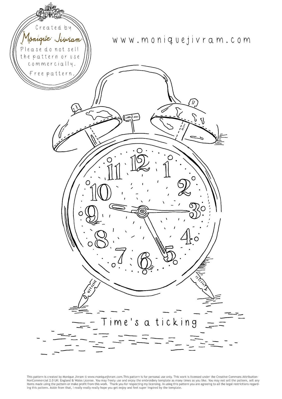 Monique Jivram Time S A Ticking Free Embroidery Template