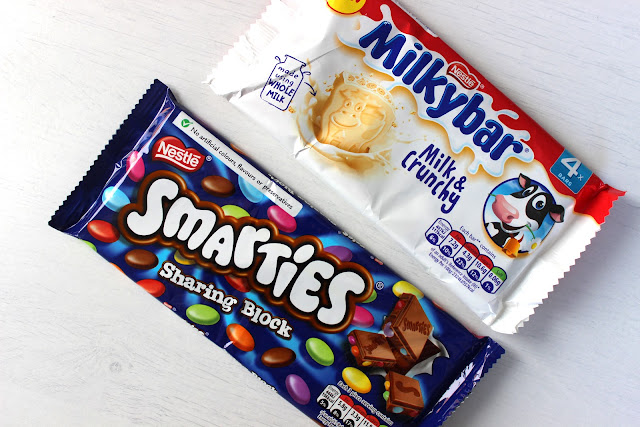 smarties, milky bar,