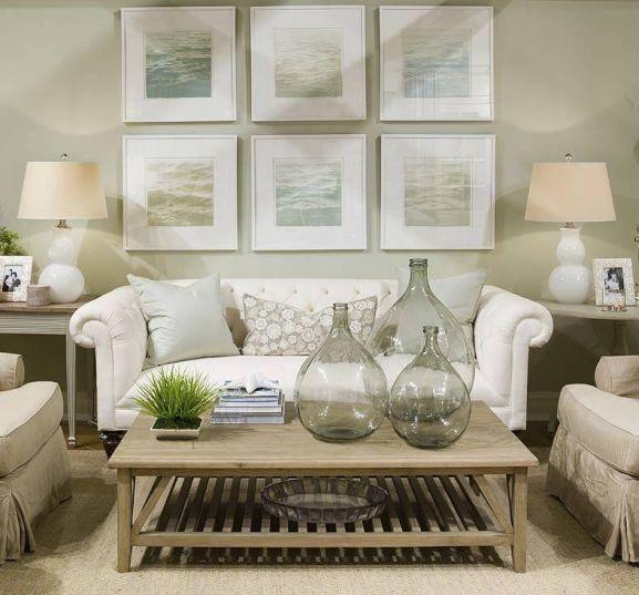 Cozy Coastal Living Room Green Couch: Salas Pequenas, Sofás Pequenos