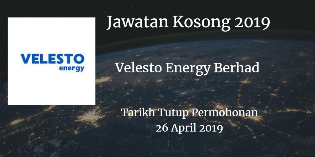 Jawatan Kosong Velesto Energy Berhad (formerly known as UMW OIL & GAS CORPORATION BERHAD) 26 April 2019