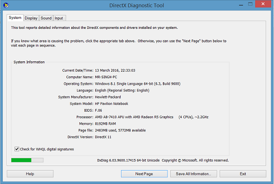 Dxdiag exe windows 8   RemoteFX 3D Grahics Driver is missing
