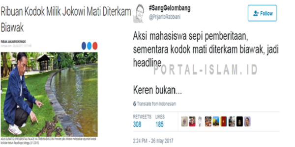MIRIS! Aksi REPRESIF Polisi ke Mahasiswa Sepi Pemberitaan, Kodok Jokowi Diterkam Biawak Jadi Headline - INSIDE ONTA