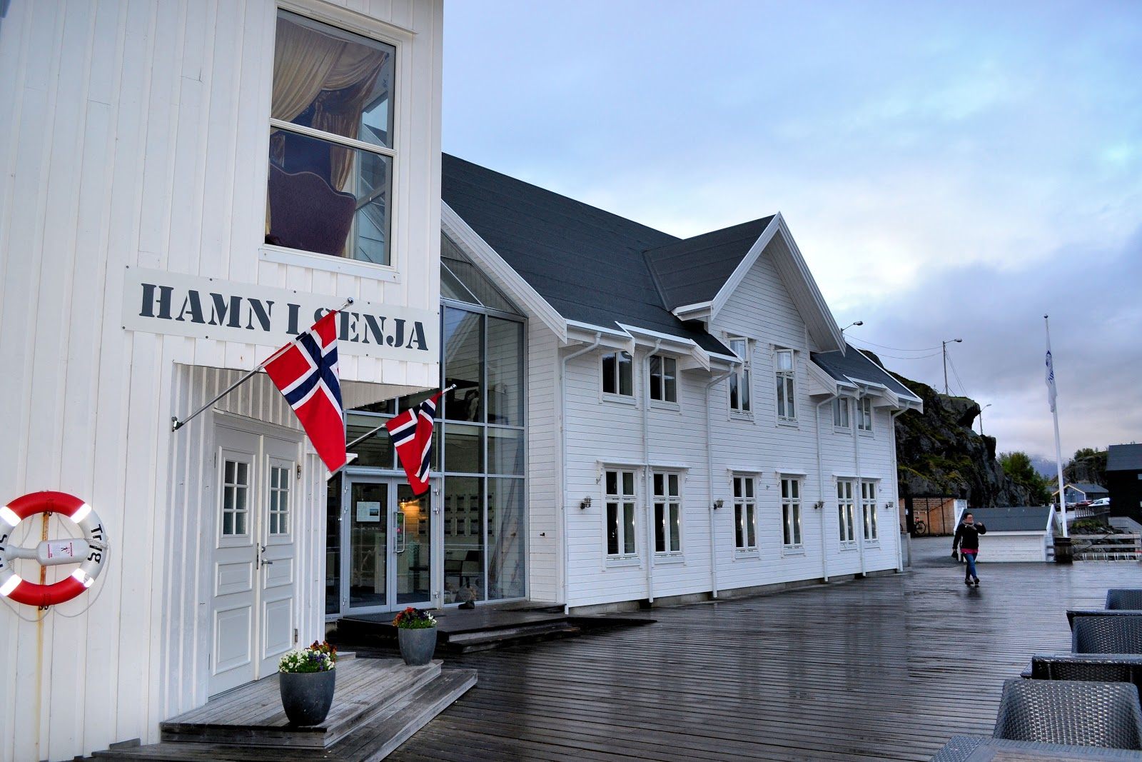 The main entrance and restaurant location at Hamn I Senja.