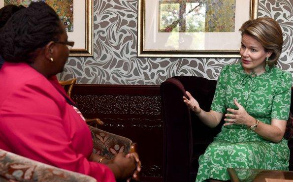 Queen Mathilde wore LK Bennett Montana green silk dress and Diane von Furstenberg print silk crepe de chine midi wrap dress