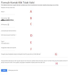 Invalid Click, Formulir Kontak Klik Tidak Valid