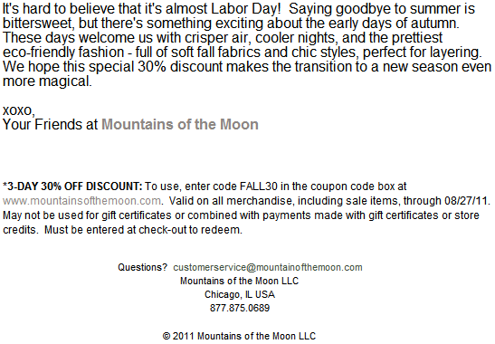 Mountains of the Moon August 2011 Newsletter
