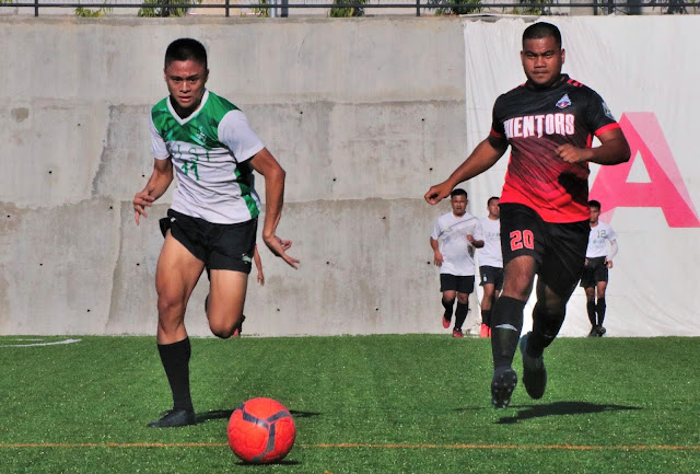 Green Stallions' top goalscorer Gerard Pena (left) failed to hit the net against Mentors FC.