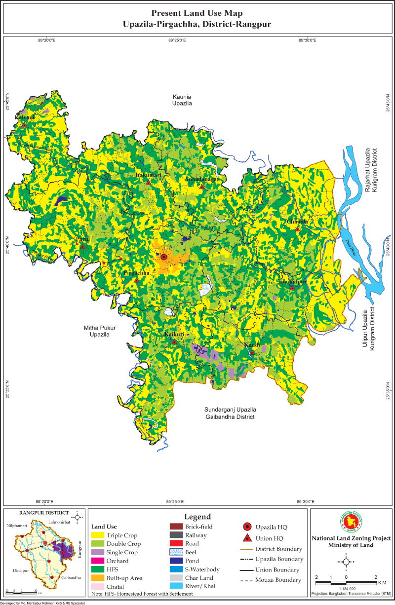 Pirgacha Upazila Mouza Map Rangpur District Bangladesh