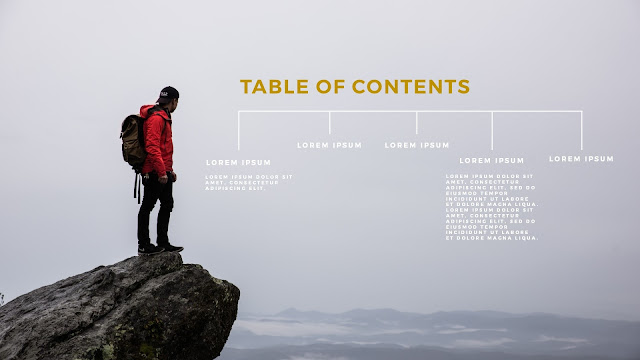 Table of Contents using man in top of the mountain  photo image for PowerPoint Presentation