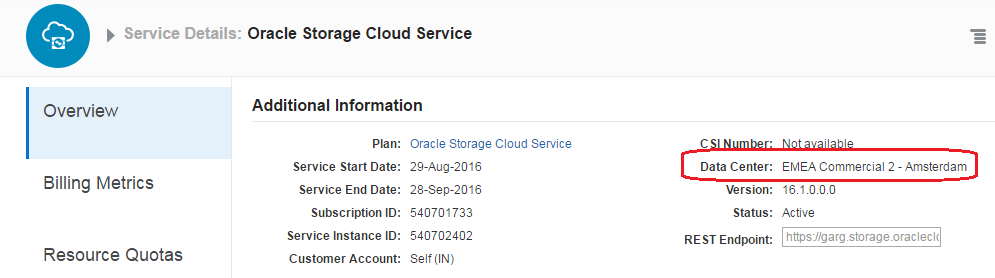Oracle Cloud Storage Data centre