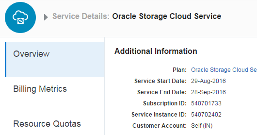 SOA Cloud - Create Oracle Storage Cloud Service Container