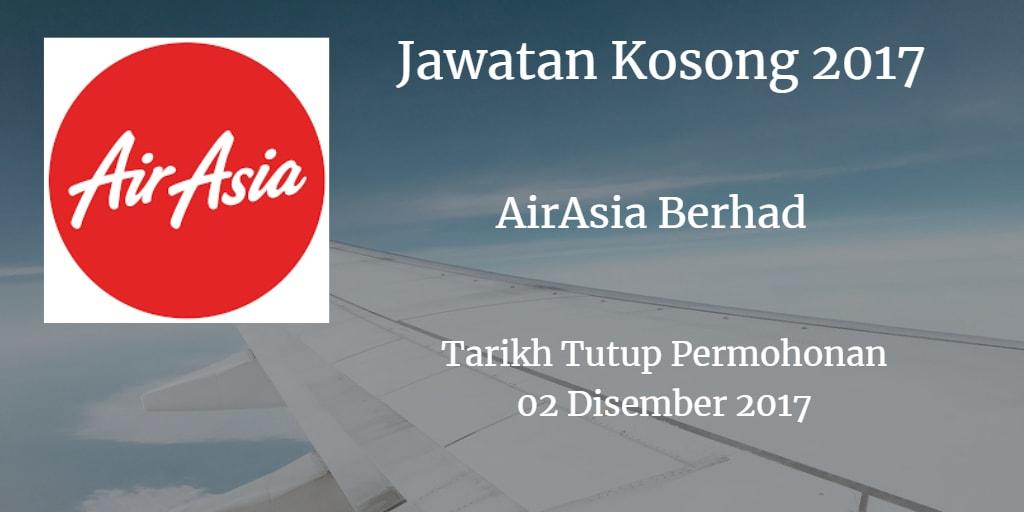 Jawatan Kosong AirAsia Berhad 21 Disember 2017