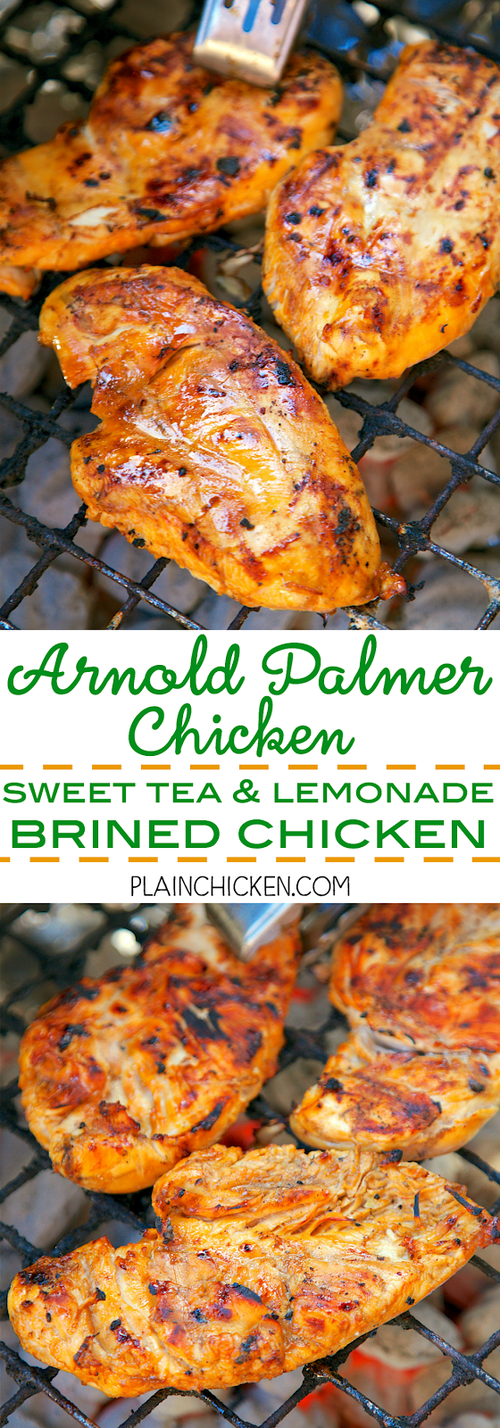 Arnold Palmer Chicken {Sweet Tea and Lemonade Brined Chicken} - let the chicken sit in the brine overnight and then grill. SO good! Tons of great flavor! This gets requested weekly at our house. It is definitely a new favorite!