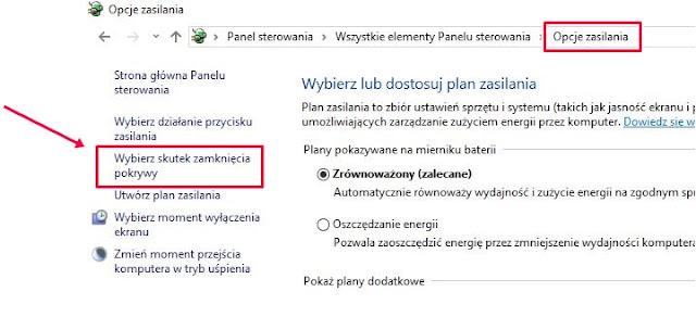 opcje zasilania system windows 10