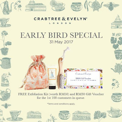 Crabtree & Evelyn Malaysia Free Exfoliation Kit & Gift Voucher New Opening Promo