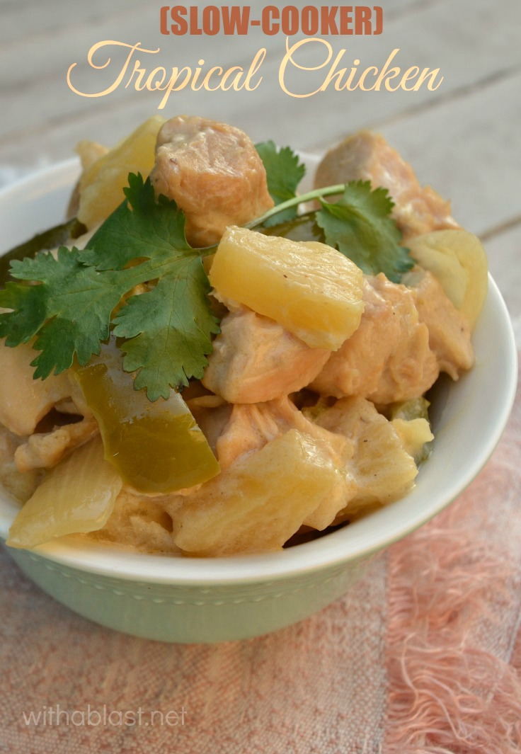 Bring the Island flavors to your dinner table with this no-fuss Slow-Cooker Tropical Chicken - perfect dinner on busy days