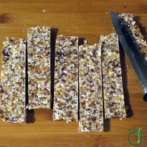 Morsels of Life - DIY Coconut Cream Pie Lara Bars Step 6 - Cut into bars. Refrigerating will make the bars easier to cut since the coconut oil will solidify. I found the bars would stay in one piece even after they came to room temperature.