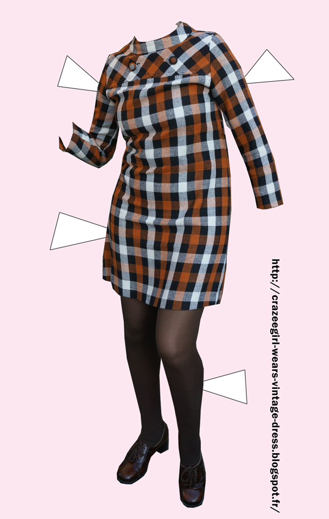 70s brown check wool mini dress
