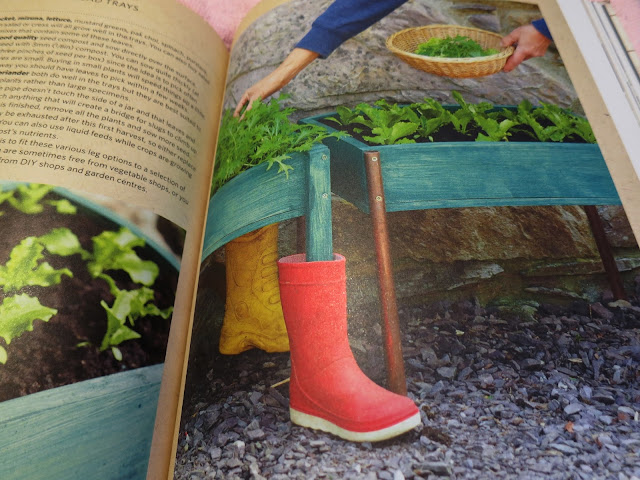 Salad trays protected from slugs by putting the legs in wellington boots. Build a Better Garden by Joyce and Ben Russell.