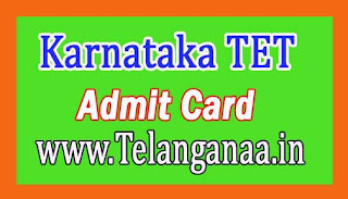 Karnataka TET Admit Card 2016 Download