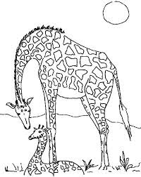 Adorable Mom And Baby Giraffe Coloring Sheet For Kids