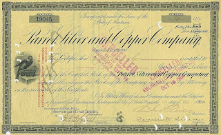 share certificate of the Parrot Silver and Copper Company