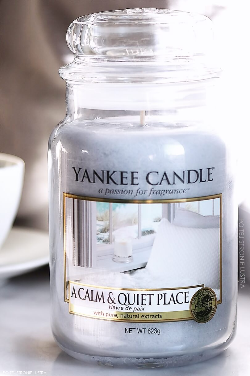 duża świeca yankee candle a calm & quiet place